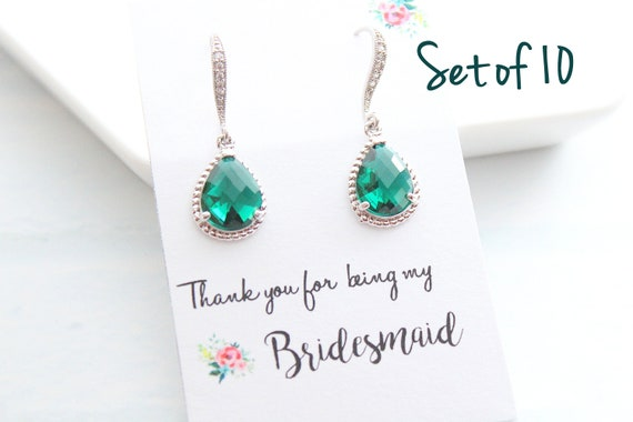 Set of 10 Bridesmaid Earrings Wedding Jewelry Bridal Earrings Amethyst Earrings Emerald Earrings Wedding Jewelry Choose your color