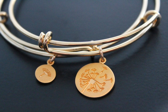 Mother daughter Bracelets Mother daughter gift Mother of the Bride Gift Jewelry Dandelion Bracelet Gold Bangle bracelet