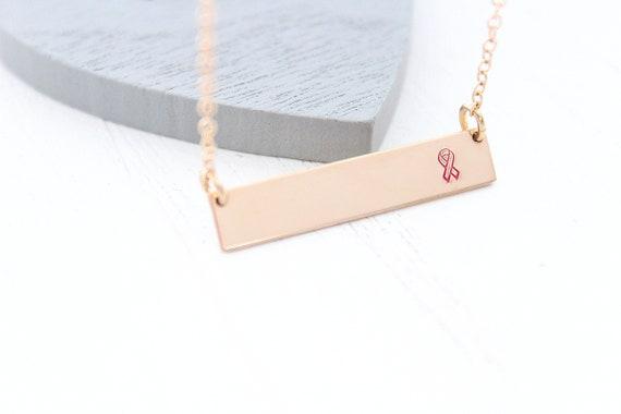 Breast cancer necklace • Cancer Awareness • Cancer survivor gift • Hope necklace • Pink ribbon necklace • Warrior necklace