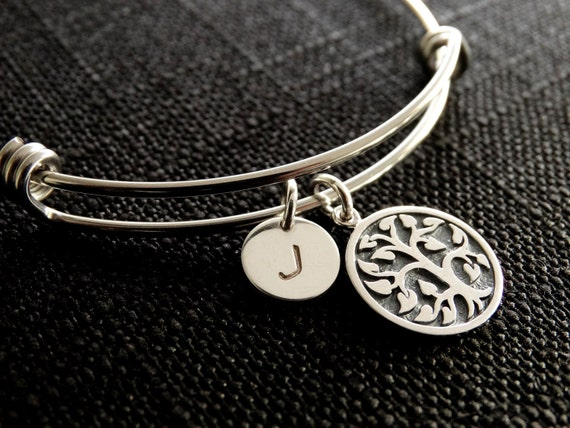 Tree Bracelet Family Tree Bracelet Family Tree Jewelry Personalized Bracelet  Personalized jewelry Tree of life bracelet Silver Bangle