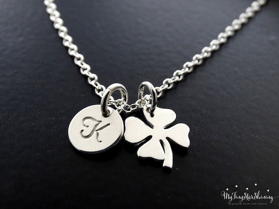 Four Leaf Clover Necklace Silver Clover Necklace Shamrock Necklace Sterling silver Initial Necklace Personalized Jewelry
