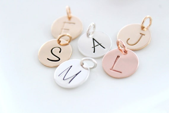 Letter charms for necklace in 14k gold filled or sterling silver, Gold initial charm, single letter charm