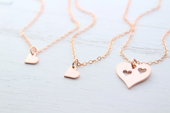 Mother Daughter Necklace set of 3 heart necklace in rose gold • Mother Daughter gift from daughter • Mother's day gift