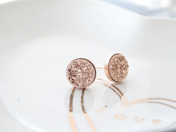 Druzy Earrings Studs Druzy Earrings ROSE GOLD Stud Earrings Druzy stud earrings Rose gold druzy earrings Rose Gold 8mm