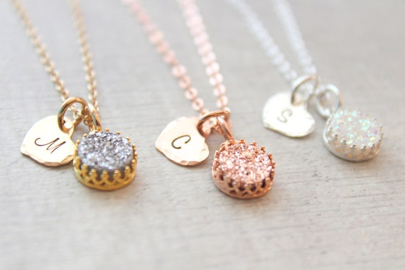 Druzy Necklace Rose Gold Necklace Silver Drusy Necklace Druzy Quartz Jewelry Gemstone Necklace Bridesmaid Gifts Bridesmaid Necklaces Heart