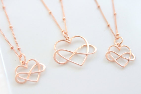 Generations jewelry infinity heart necklace Grandmother Mother daughter necklace set of 3 mom necklace Rose gold necklace christmas gift