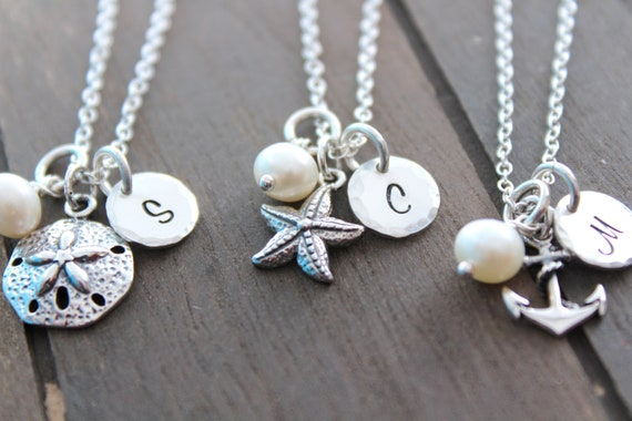 Bridesmaid Necklace Beach Necklace Beach Ocean Wedding Bridesmaid initial necklace Anchor sea shell starfish sand dollar Necklace pearl