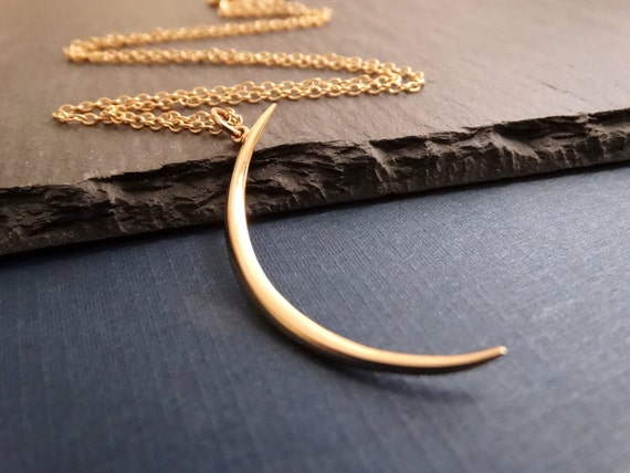 Crescent Moon Necklace Gold Crescent Moon Necklace Crescent Moon Pendant Necklace Large Moon Pendant Necklace