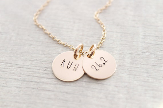 Marathon Necklace, Marathon runner gift, Marathon gift or Half Marathon Necklace, 26.2 miles, Engraved Necklace, Runner necklace
