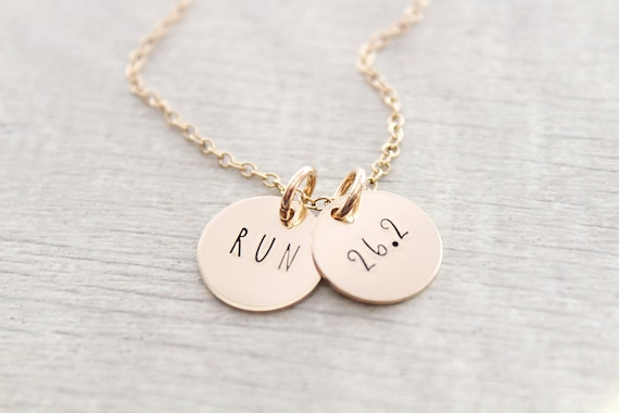 Marathon runner gift, Marathon or Half Marathon Necklace, 26.2 miles, Engraved Necklace, Hand-Stamped, Marathon Necklace, Runner