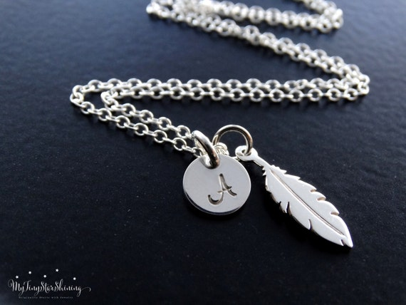 Feather Necklace in Silver Feather Necklace Sterling Silver Silver Feather Jewelry Feather Pendant  Personalized Jewelry