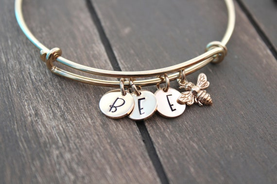 Bangle Bracelet, Bumble Bee Bracelet, Personalized Jewelry, Initial Bracelet, Bumble bee Jewelry, GOLD initial bracelet