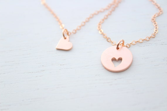 Mother daughter Necklace Set of 2 in rose gold • Mothers day gift for mom from daughter • Heart necklace • Mom birthday gift
