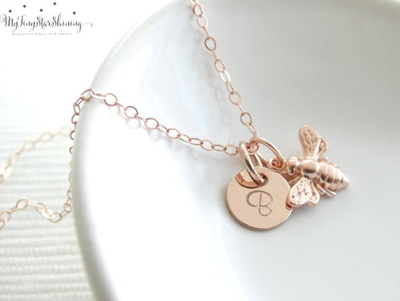 Bee Necklace Rose Gold, Bumble Bee Necklace, Bee Jewelry, Honey bee Necklace, Bee jewelry, Initial necklace