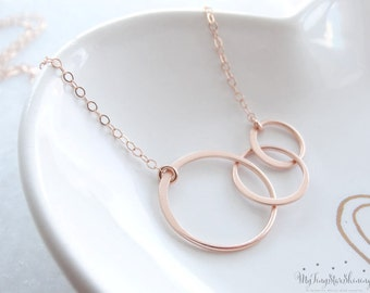 Eternity Necklace Sisters Necklace Eternity Three Circles Necklace Rose Gold Necklace  Eternity Circle Necklace Rose Gold Circle Necklace