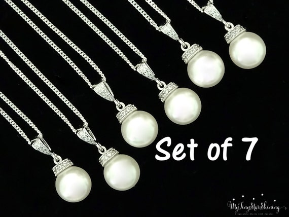 Set of 7 Bridesmaid Pearl Necklaces Wedding Gift Bridesmaid Gift Swarovski Crystal Pearl Necklace Bridal Jewelry Pearl 15% Discount