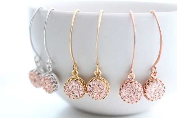Rose gold Druzy Earrings Real druzy Earrings Druzy Dangle Earrings Geode Earrings Stone earrings Druzy Earrings Silver Bridesmaid Gift