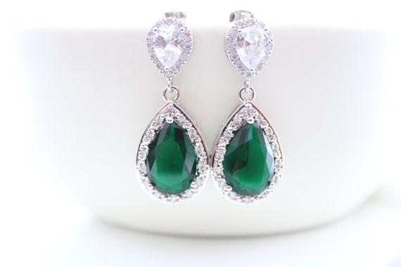 Emerald Bridal Earrings Green Bride Earrings Wedding Earrings Dark Green Crystal Bridesmaid Gift Emerald Bridal Necklace Bride