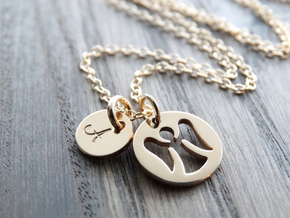 Guardian Angel Necklace gold Remembrance • Mother Necklace • Guardian Angel Charm • Gold necklace with Initial  • Personalized Jewelry