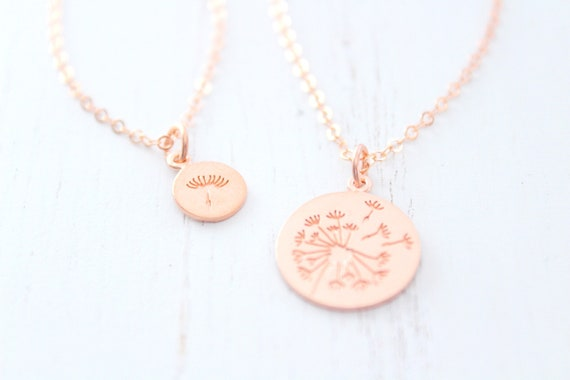 Dandelion Necklace rose gold, Mother Daughter Necklace, Mothers day gift, Daughter Gift, Mommy and Me, Dandelion Rose Gold Set of 2
