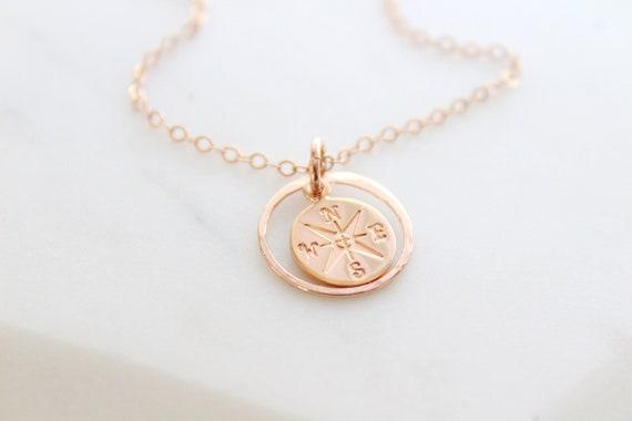 Compass Necklace enjoy the journey necklace, 18k rose gold compass pendant, Compass charm, Graduation gift, friendship necklace