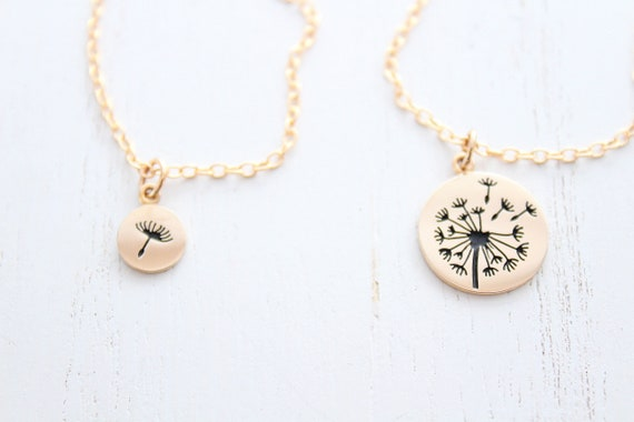 Dandelion Necklace in gold for mother daughter necklace. Mother of the bride gift, mother daughter gift  from daughter, Christmas gift