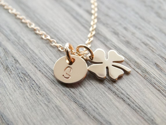 Four Leaf Clover Necklace Gold, Shamrock Necklace Gold, Initial necklace, Best friend gift, Sisterhood, birthday gift, St Patricks Day gift