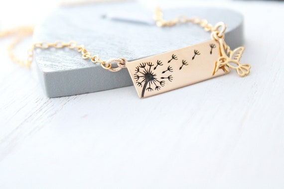 Dandelion Necklace gold hummingbird necklace , Wish Necklace Flower Gold Necklace, Christmas Gift For Women
