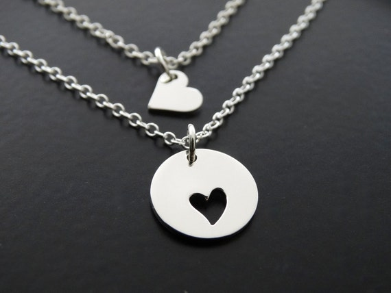 Mother Daughter necklace sterling silver, gift for mom necklace, Daughter necklace from mom, Mother's day gift, Heart Necklace