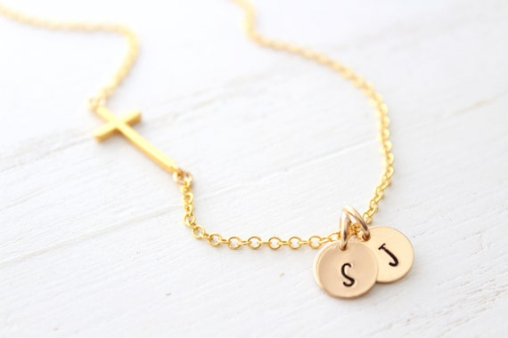 Sideway initial necklace,sideways cross necklace, gold cross necklace, dainty jewelry, gifts for her, gift for women, necklaces for women