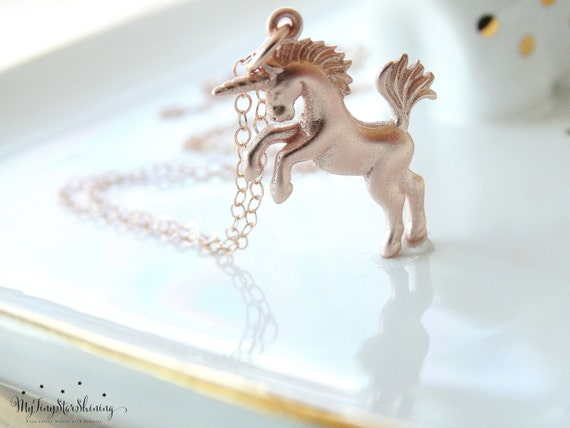 Unicorn Necklace ROSE GOLD Unicorn Jewelry Magical Unicorns Fairytale Rose Gold Necklace Horse Necklace
