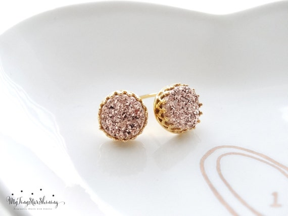 Druzy Earrings Studs Rose Gold Druzy Earrings Stud Earrings GOLD Vermeil Druzy Studs