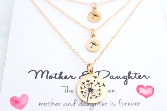 Dandelion necklace for women, Gold necklace, mother and daughters, Set of 3 necklaces, Mother of the bride, Gift for mom