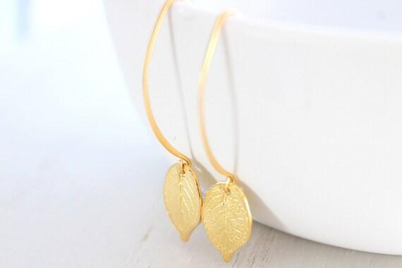 Gold leaf Earrings, Nature earrings, Gold Leaves Earrings, Gold Earrings, Gift for women