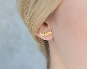 Threader earrings, front back earrings, silver threader earrings, ear crawler,double earrings, silver chain earrings, double sided earrings,