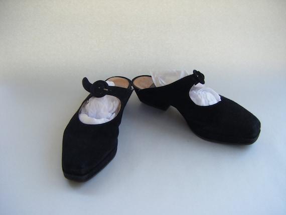 Vintage Gianni Barbato Black Suede Mules-European