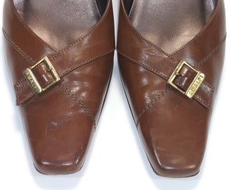 f3cd09f1e5d Amalfi Brown Leather Shoes Size 9 with 2.75