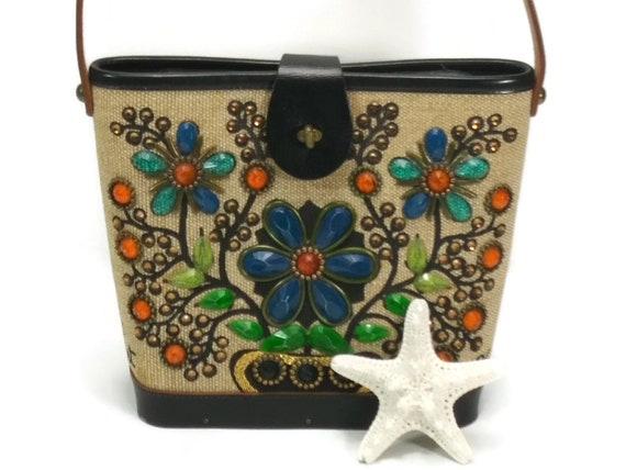 Small Enid Collins 'Flower Basket' Handbag; Bedazz