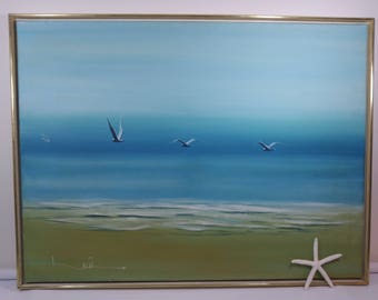 Gorgeous Mid-Century-Modern Seascape Beach Scene Painting in Vibrant Blues and Greens, Vintage Seascape