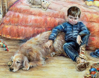 """Boy dog Children childhood Art Print best friend """"I Can Tell You Anything"""" Laurie Shanholtzer Canvas or art paper print,"""