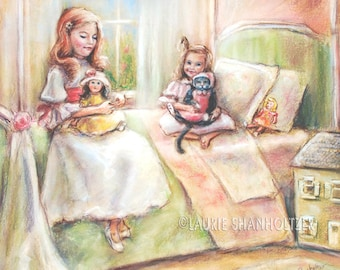 """Kitten kitty, sisters, girls 'Playing with Dolls... and Kitty"""" childhood illustration by Laurie Shanholtzer Canvas or art paper print"""