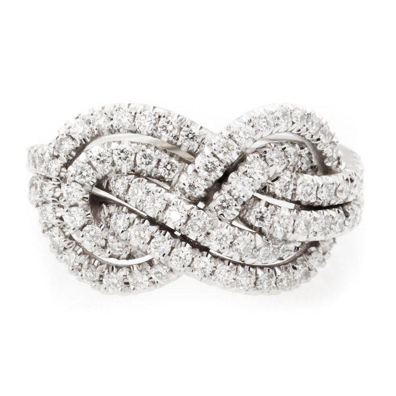 Double Infinity Knot Ring Gold Diamond Wedding Band 0.75 CT image 0