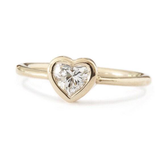 Herz Diamant Ring Lunette Diamant Verlobungsring Solitar Etsy
