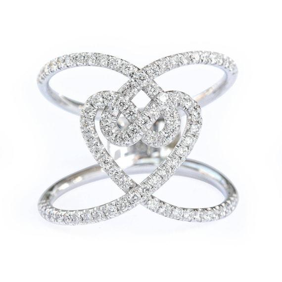 Unique Love Knot Diamond Ring Statement Ring Wide Diamond Etsy