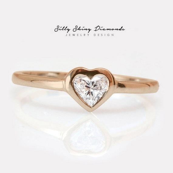 Herz Diamant Solitar Verlobungsring Herz Diamant Lunette Set Etsy