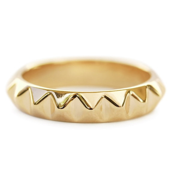 Gold Pyramide Ring Solid Gold Ehering 14k 18k Gold Ring Etsy