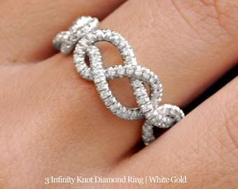 Infinity Love Knot Diamond Ring, Triple Infinity Knot Ring, 0.75 CT Diamond Wedding Band, New Mon,Cluster Ring, Art Deco Ring, Infinity Ring