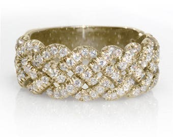 Braided Wedding Band, 0.8 CT Diamond Wedding Ring, 14K Gold Ring, Wide Diamond Band, Woven Ring, Womens Wedding Band, Unique Ring