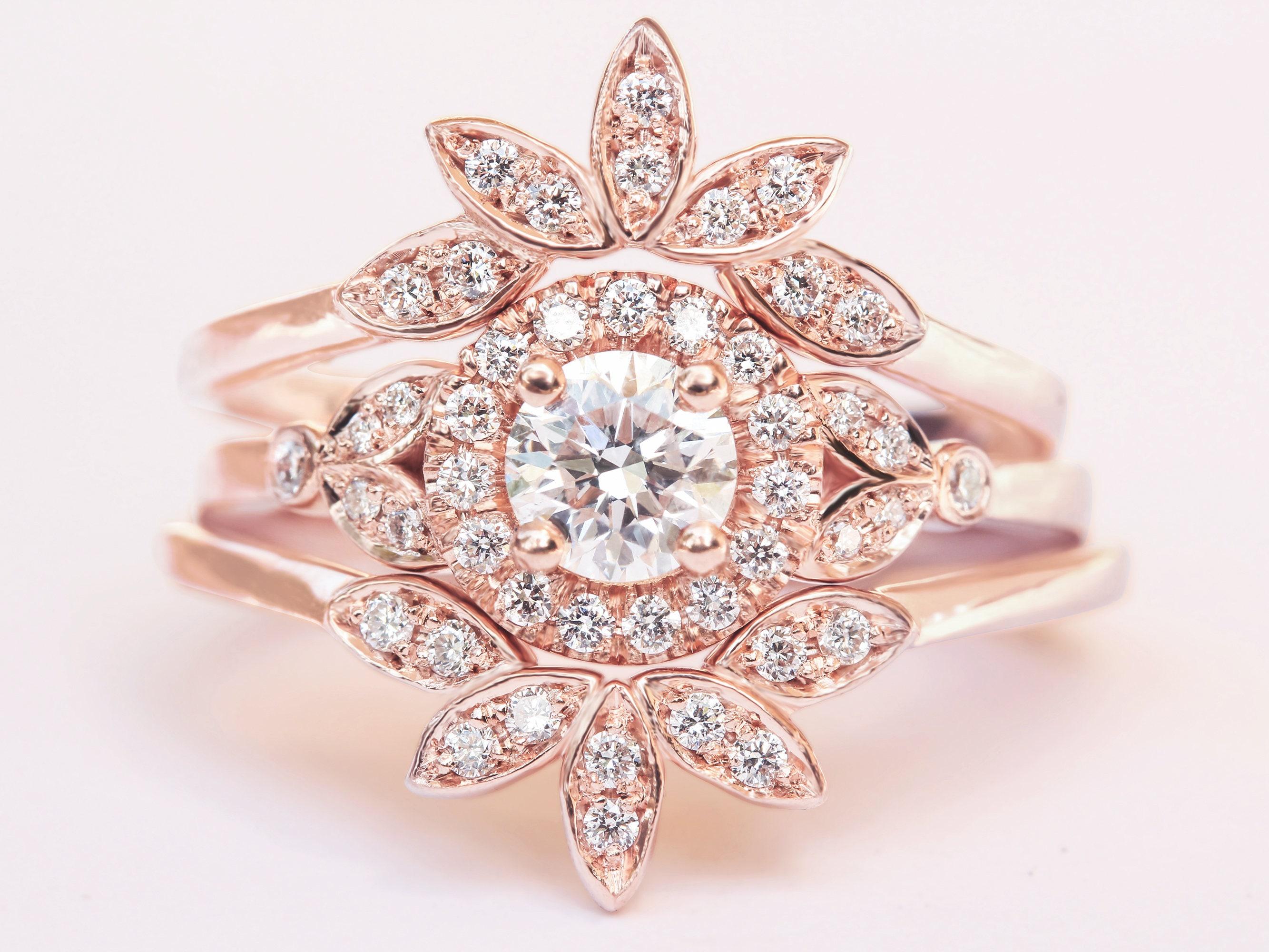 Three Diamond Unique Engagement Ring Set Cluster Diamond Ring | Etsy