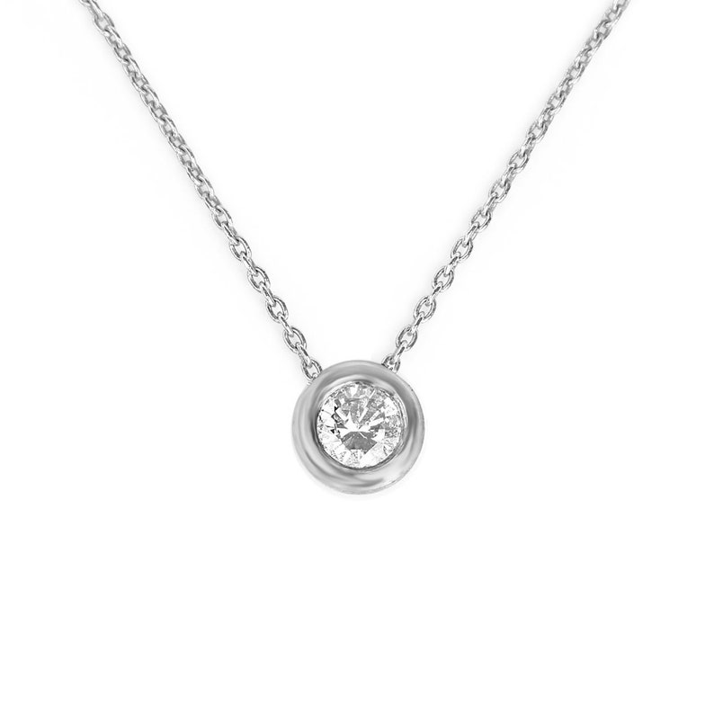 3e9b9063795e2 Solitaire Diamond Necklace 14k White Gold 0.12ct Brilliant Cut , Bridal  Jewelry, Bezel Setting Choker, Women Natural Diamond Pendant